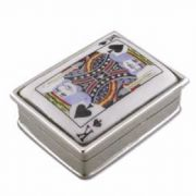 Sterling silver King of spades oblong pill box 27g